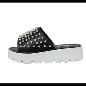 Shoes - Black Open toe pearl studs flip flop lug flatform